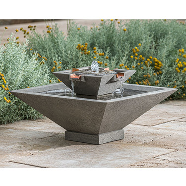 Facet Fountain - Cast Stone in Greystone Finish