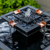 Square One Fountain Detail - Cast Stone in Nero Nuevo finish