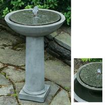Cirrus Birdbath Fountain - Cast Stone in Alpine Stone Finish