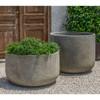 Low Tribeca Planter with Tribeca Planter - Cast Stone in Greystone Finish