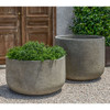 Low Tribeca Planter with Tribeca Planter - Cast Stone in Greystone Finish