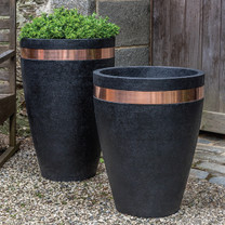 Moderne Tapered Planters - Cast Stone in Nero Nuovo Finish