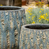 Lambrate Planter Detail (Terracotta in Aqua Blue Coral Glaze)