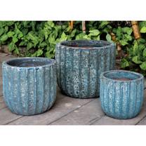 Maris Planters (Terracotta in Aqua Blue Coral Finish)