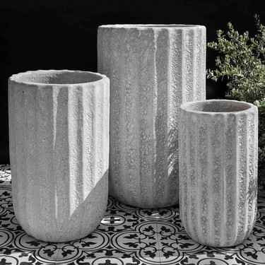 Tall Maris Planters (Terracotta in White Coral Finish)