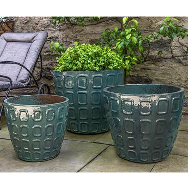 Netura Planters (Terracotta in Teal Gloss Glaze)