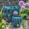 Rib Vault Planters (Terracotta in Indigo Rain Glaze)