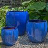 Rib Vault Planters (Terracotta in Riviera Blue Glaze)