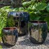 Rib Vault Planters (Terracotta in Metallic Glaze)