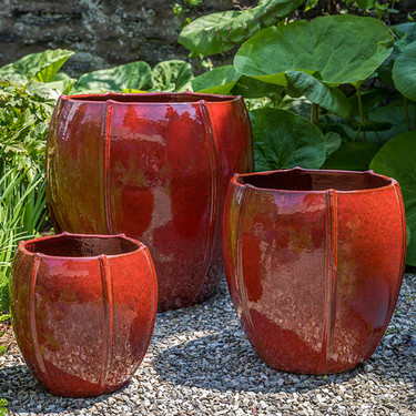 Rib Vault Planters (Terracotta in Tropical Red Glaze)