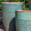 Rustic Hyphen Planter Detail (Terracotta in Rustic Green Glaze)