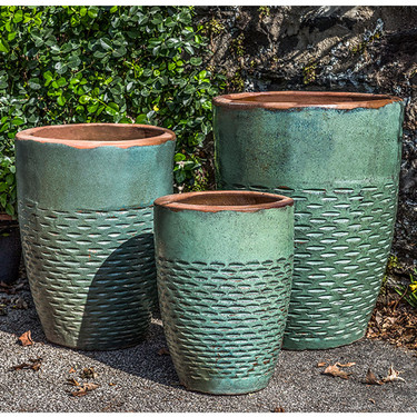 Rustic Hyphen Planters (Terracotta in Rustic Green Glaze)