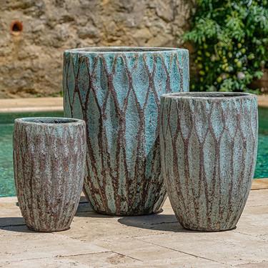 Tortona Planters (Terracotta in Verdigris Finish)