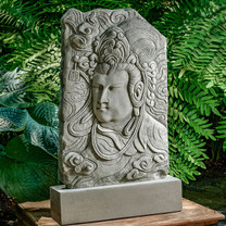 Antique Quan Yin Plaque - Material: Cast Stone - Finish: Alpine Stone