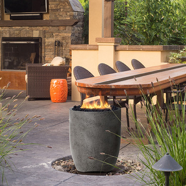 Pentola 3 Fire Pit (glass fiber reinforced cement in pewter)