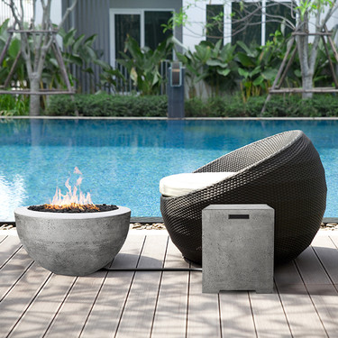 Moderno 3 Fire Pit with Sausilito Propane Tank Enclosure - (glass fiber reinforced cement in cafe)