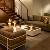 Indoor Ethanol Burner Manhattan 50 Fire Pit Table (Concrete in Bone)