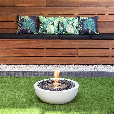 Mix 600 Fire Pit Bowl in Bone, Stainless Steel Burner