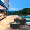 Pod 30 and Pod 40 Fire Pit Bowls in Natural, Stainless Steel Ethanol Burners, Optional Glass Screens
