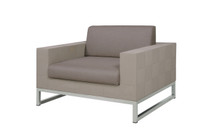 QUILT Sofa 1-Seater - Stainless Steel, Batyline Canatex, Taupe Sunbrella Canvas Cushion