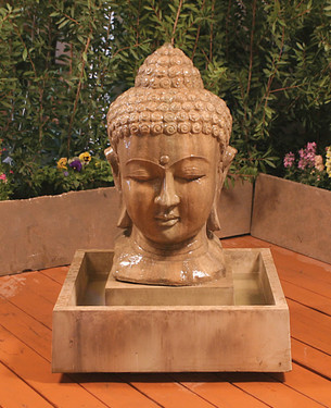 Buddha head Fountain - Small - Material : GFRC - Finish : Sierra