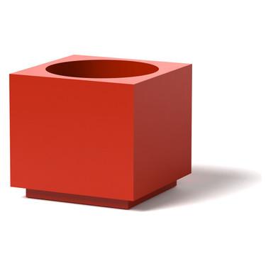 Block Planter - Material : Aluminum : Finish : Red