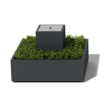Column and Base Fountain planted in - Material : Aluminum - Finish : Powder Coat Charcoal Gray