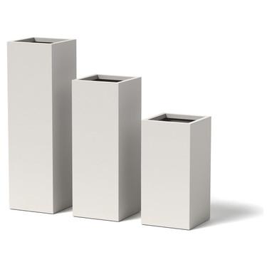 12 inch Column Planter - Material : Aluminum - Finish : White