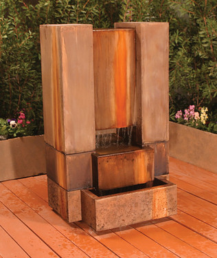 Guillotine Fountain - Material : GFRC : Finish : Chestnut