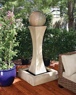 I Fountain with Ball : Material : GFRC - Finish Fountain : Ancient Ball : Sierra