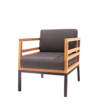 ZUDU lounge 1-seater armchair - Reclaimed Teak, Black Powder Coated Aluminum