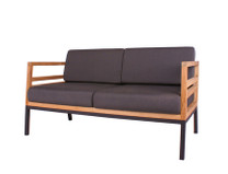 ZUDU lounge 2-seater - Reclaimed Teak, Black Powder Coated Aluminum, Sunbrella Canvas