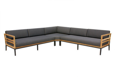 ZUDU oversized corner sofa - recycled teak, black powder coated aluminum, Sunbrella Canvas