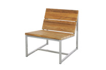 OKO casual 1 seater - Powder Coated Stainless Steel, Recycled Teak (Brushed)