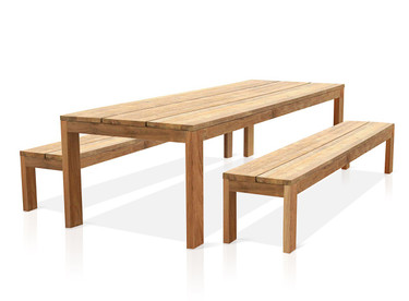 """Eden Reclaimed Teak Outdoor Dining Set - 118"""" Table and 102.5"""" Benches"""
