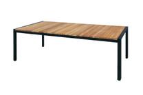 ZUDU Dining Table 220 - Reclaimed Teak, Black Powder Coated Aluminum
