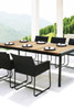 ZUDU Dining Table 220 with ZUDU Dining Armchair - Reclaimed Teak, Black Powder Coated Aluminum