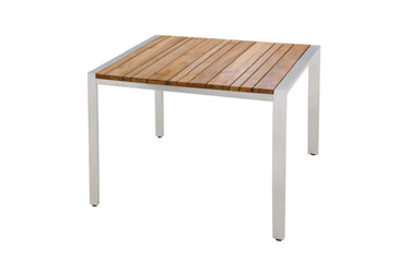 ZUDU Dining Table 100 - Reclaimed Teak, Stainless Steel