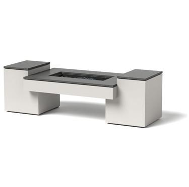 Propane Fire Table - Material : Aluminum - Fire Pit Finish : White  - Option : Granite
