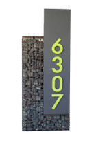 Pebble Metal Address Sign - Material : Aluminum - Finish : Charcoal Gray, Lime
