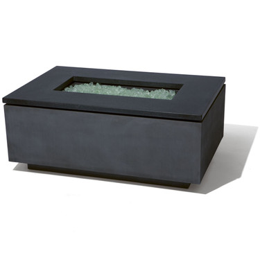 Rectangle Fire Pit - Material : Aluminum, Granite - Finish : Oxidized Zinc, Ultimate Black