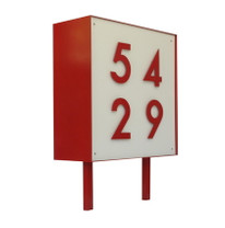 Square Metal Address Sign - Material : Aluminum - Finish : Red, White