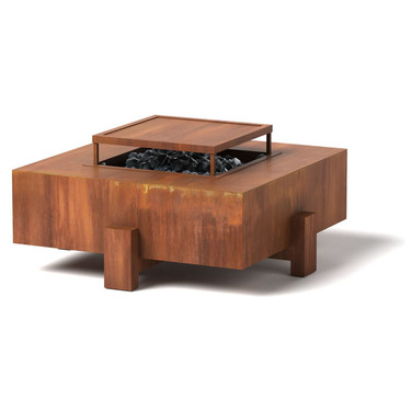 Square Patio Fire Pit - Material : Corten Steel - Finish : Natural Rust