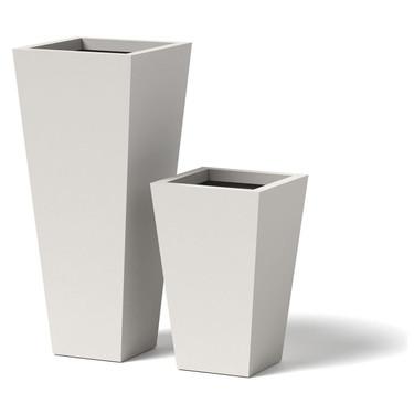 Tapered Planter - Material : Aluminum - Finish : Linen White