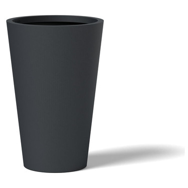 Tall Round Planter - Material : Aluminum - Finish : Charcoal Gray