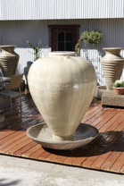 Large Vase with Wok Fountain - Material : GFRC - Finish : Ancient