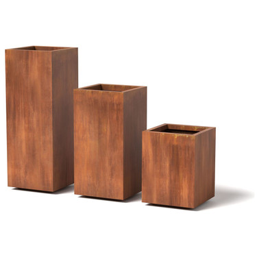 Wide Column Planter - Material : Steel - Finish : Natural Rust
