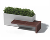 Linear Planter Bench with one bench - Material : Aluminum, IPE - Finish : Metallic Silver