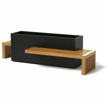 Linear Planter Bench with 2 benches - Material : Aluminum, Accoya - Finish : Black