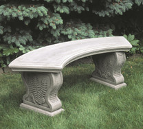 Curved Woodland Ferns Bench - Material : Cast Stone - Finish : Greystone
